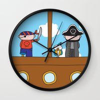 pirates Wall Clocks featuring Pirates by oekie