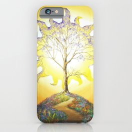 The Tree of Life and Light magical realism landscape painting by Felipe Juan Artista iPhone Case