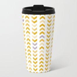 Follow the Arrow - yellow Metal Travel Mug