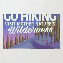 Go Hiking night travel poster Rug