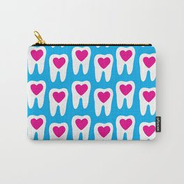 Teeth pattern with hearts in the center on blue background Carry-All Pouch