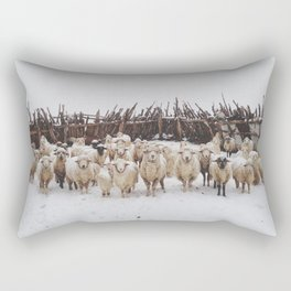 Snowy Sheep Stare Rectangular Pillow