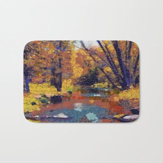 Autumn pond in the park Bath Mat