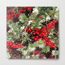Frosted Christmas Tree with Holly Metal Print