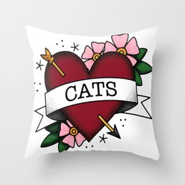 I Love Cats and Tattoos Sailor Jerry Style Tattoo Heart Throw Pillow
