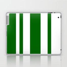 Mixed Vertical Stripes - White and Dark Green Laptop & iPad Skin