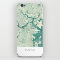 boston map iPhone & iPod Skins featuring Boston Map Blue Vintage by City Art Posters