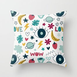 illustrations wallpaper background cute Throw Pillow