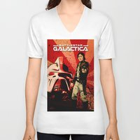 battlestar galactica V-neck T-shirts featuring Battlestar Galactica by Storm Media