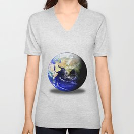 Earth Globe East Shadow Unisex V-Neck