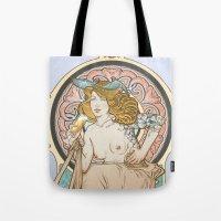 mucha Tote Bags featuring Mucha modern stylization by Anna Sun