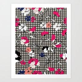 Checker Wild Petite Floral Black Art Print