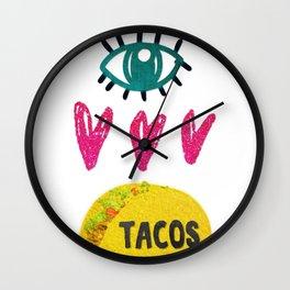 Eye Love Tacos Wall Clock
