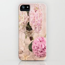 Pink Hydrangeas With Sea Shells iPhone Case