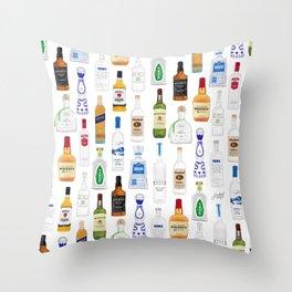 Tequila, Whiskey, Vodka Bottles Illustration Throw Pillow