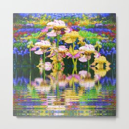 YELLOW IRIS WATER GARDEN REFLECTIONS Metal Print