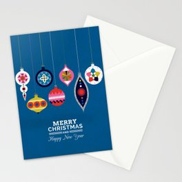 Retro Christmas Baubles on a dark background Stationery Cards