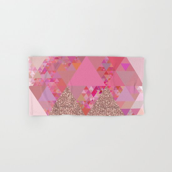 Triangles in glittering pink- glitter triangle pattern Hand & Bath Towel
