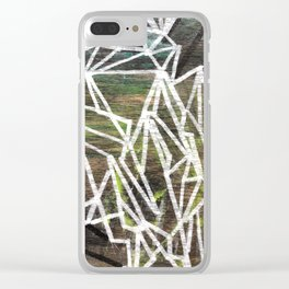 Geometric Lines on Wood Clear iPhone Case