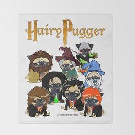 Hairy Pugger Throw Blanket