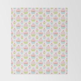 Pastel Cupcakes Food Vector Pattern Throw Blanket