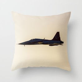 Turkish military acrobatic airplane in backlight Throw Pillow