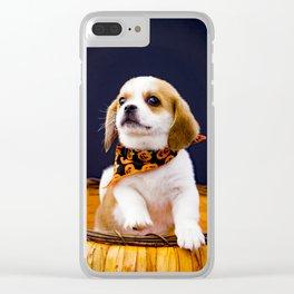 Beaglier Puppy Wearing a Jack-o-Lantern Bandana in a Halloween Pumpkin Basket Clear iPhone Case
