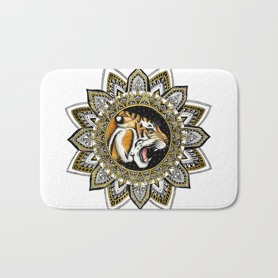 Black and Gold Roaring Tiger Mandala Bath Mat