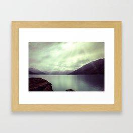 Lake mountain light Framed Art Print