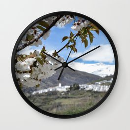 White, white and white (flowers, village, snow) Wall Clock