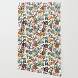 Cat and Floral Pattern III Wallpaper