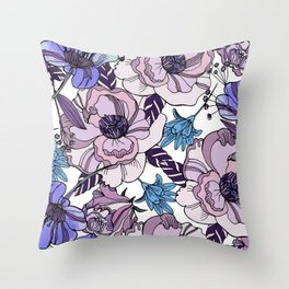 Cute beautiful floral seamless pattern. Ultraviolet roses, violas and meadow flowers. Throw Pillow