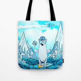 Polar bear on the surf board Tote Bag