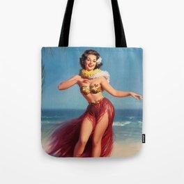 Hula Girl Vintage Pin Up Art Tote Bag