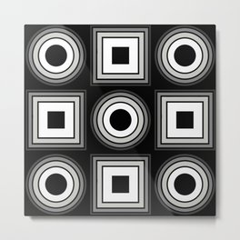 Fade To Black - Abstract, black and white, geometric, 3D effect artwork Metal Print