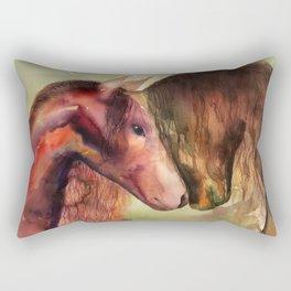 Two Horses watercolor painting Rectangular Pillow