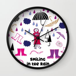 Smiling in the rain Wall Clock