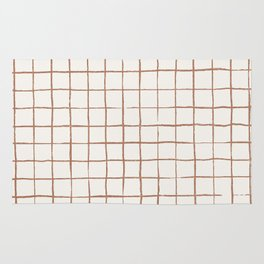 Imperfect Grid in Ivory and Clay Rug