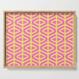 Mid Century Modern Split Triangle Pattern Pink and Yellow Serving Tray