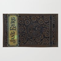 jane eyre Area & Throw Rugs featuring Jane Eyre by Charlotte Bronte, Vintage Book Cover by ForgottenCotton