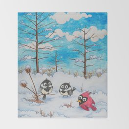 Winter: Two Chickadees and a Cardinal Throw Blanket