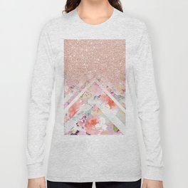 Modern rose gold glitter ombre floral watercolor white marble triangles Long Sleeve T-shirt