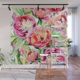 Blush pink orange green hand painted watercolor floral Wall Mural