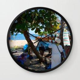 Little Business on the Beach Wall Clock