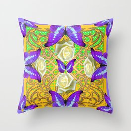 LILAC PURPLE BUTTERFLIES ABSTRACT GARDEN Throw Pillow