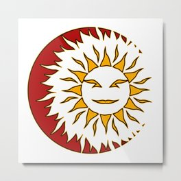 Smiling Sun Eclipsing the Moon Metal Print