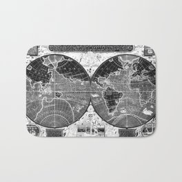 Black and white World Map (1595) Inverse Bath Mat