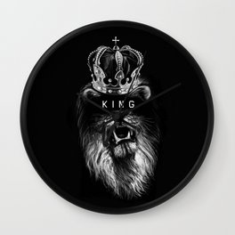 Lion, Lionart, King, Animal, Black, Minimal, Interior, Black White,Wall art, Art Print,Trendy decor Wall Clock