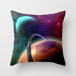 Double Planets Throw Pillow