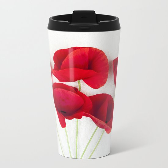 a Bunch Of Red Poppies Metal Travel Mug